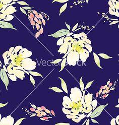 Watercolor flower pattern vector  - by Karma3 on VectorStock®