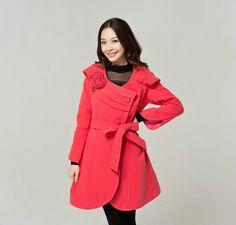 Korean Elegant Ladies Plus Size Woolen Coat