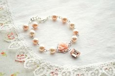 Vintage Bridal Bracelet  Wedding Jewelry Peach and by EternalEden, $26.00