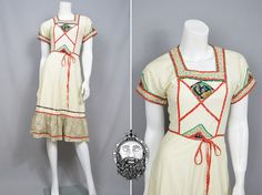 Vintage 70s Folk Dress Ditsy Floral Print Boho Chic by ZeusVintage