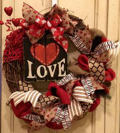 Valentines Day Wreath, Grapevine Valentines Day Wreath, Red and Black Wreath, Heart Wreath, Burlap Wreath, Love Wreath by PurplePetalDesign on Etsy https://www.etsy.com/listing/216881247/valentines-day-wreath-grapevine