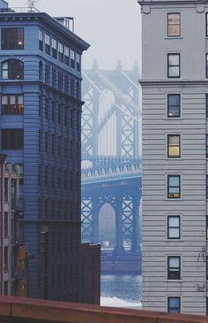NYC. Lower Manhattan. Manhattan Bridge in the background.