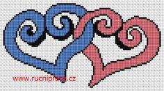 Hearts, free cross stitch patterns and charts - www.free-cross-stitch.rucniprace.cz
