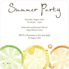 Summer Party Invites.  Follow PoolSupplyWorld on www.facebook.com/... for more pool ideas and resources!
