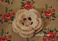 free crochet flower pattern easy crochet flower with 3 layers.