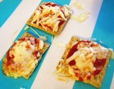 Pizza Snacker Crackers! 3 Whole Grain Crackers 1 Tbsp Fat Free Mozzarella Cheese 2 Tbsp Muir Glen PizzaSauce