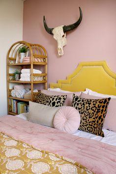 pink walls and yellow velvet bedroom with rattan bookshelf Home Bedroom, Bedroom Decor, Bedroom Ideas, Quirky Bedroom, Velvet Bedroom, Global Decor, Pink Walls, Next At Home, Bedroom Colors