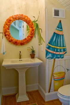 Beach+Theme+Bathroom+Decor | Wall decal in beach bathroom theme Beach Themed Bathroom Decor Ideas ...