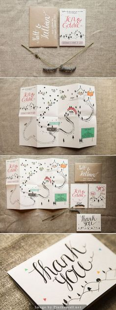 Light and airy feminine wedding invitation, thank you card, and map. Pink hand lettering on white paper w/ thin black lines for illustration & white ink on kraft paper. Accent colors of green, pink, blue & yellow used sparingly.: