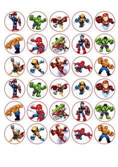 30 Super Hero Squad Edible Paper Cupcake Cup Cake Decoration Image More Paw Patrol Cupcake Toppers, Cupcake Toppers Free, Superhero Classroom, Superhero Cake, Superhero Treats, Avengers Birthday, Superhero Birthday Party, Diy Birthday, Hero Squad