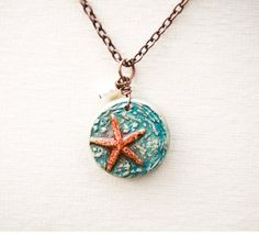 Starfish Polymer Clay Pendant Necklace by Distlefunk2 on Etsy, $18.99