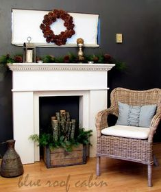 simply rustic and natural mantel/FP decoration idea from Blue Roof Cabin Faux Mantle, Fireplace Mantle, Fireplace Ideas, Diy Mantel, Mantle Ideas, Fireplace Decorations, Room Decorations, Christmas Fireplace, Cabin Christmas