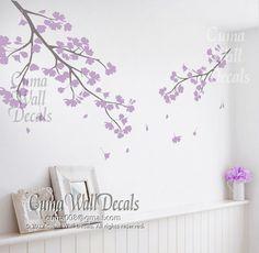 lilac cherry blossom wall decals vinyl floral wall sticker tree nursery wall mural children-girl nursery cherry blossom Z119 cuma on Wanelo