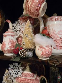 My breakfast room hutch is decked out for Christmas! I've incorporated lots of Christmas-ey cheer into my red English transfer wa...