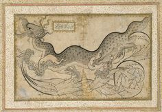 Ornamental drawing of a dragon, mid-16th century; Ottoman, attributed to Shah Quli  Turkey (Istanbul)  Ink, colors, and gold on paper