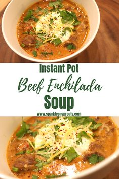 Instant Pot Beef Enchilada Soup is the perfect Fall dinner.  It is ready in under a hour and is KETO/Low Carb friendly.  It is a new family favorite in my home! . . #keto #ketolife #ketogirl #instantpot #beef #enchilada #soup #sparklesnsprouts