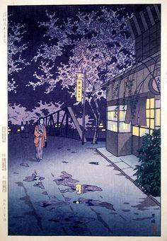 笠松紫浪: Spring Dusk at Yumoto Hot Springs- Hakone - Japanese Art Open Database