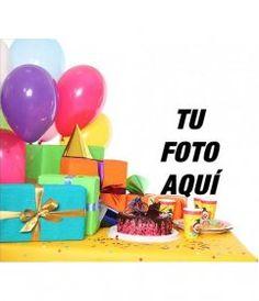 Tarjeta de cumpleaños con marco de fotos rojo, globos y pasteles para - Fotoefectos Shape, Frases, Happy Birthday Photos, Happy Birth Day, Birthday Congratulations, Happy Birthday Cards