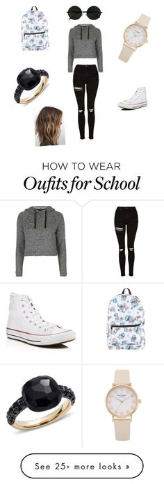 """First day of school kind of outfit"" by nadia-duran14 on Polyvore featuring Topshop, Converse, Disney and Pomellato:"