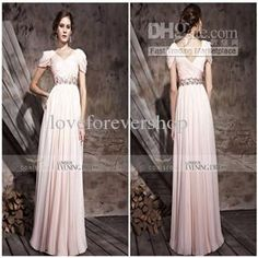 Wholesale 2012 New V-neck Short Cap Sleeves Beads Ruffle Chiffon Cheap Long Evening Dresses Prom Dresses Gowns, Free shipping, $115.54~131.1/Piece | DHgate Mobile | m.dhgate.com