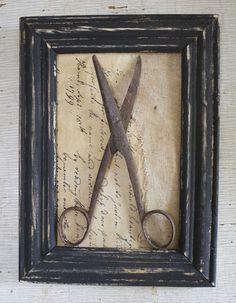 Framed Vintage Scissors on Aged Paper  Cheesecloth