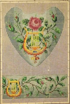 A Berlin WoolWork Lyre Pattern Produced By LW Wittich In Berln