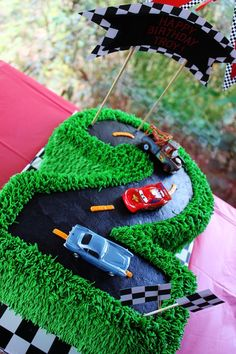 Best birthday cake ever!!! :) Peanut's car theme birthday cake ...