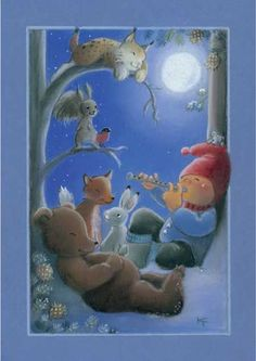 kaarina toivanen - Buscar con Google Christmas Tale, Vintage Christmas, Christmas Crafts, Good Night Wishes, Good Night Moon, Christmas Illustration, Cute Illustration, French Greetings, Elves And Fairies