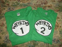 Custom Made Weirdo 1 Weirdo 2 REGULAR FIT Halloween Costume Shirt. $25.00, via Etsy.