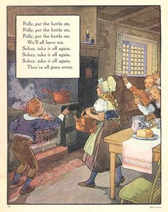 """Polly, put the kettle on"", aus: ""Mother Goose"", Volland Popular Edition (1921), Illustration von Frederick Richardson (1862 - 1937)"