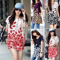 Wish   Women's Fashion Casual Loose Floral Tunic Dresses Flower Printed O-neck Short Sleeves One Piece Mini Dress  Plus Size