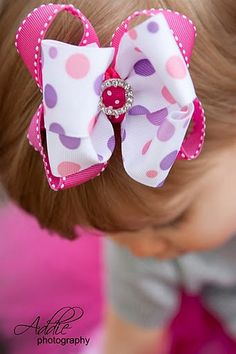 Princess Boutique Bow   Hot Pink/Lavender by RufflesRibbonsNBows