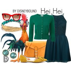 Hei Hei by leslieakay on Polyvore featuring New Look, Pure Collection, Sole Society, LeiVanKash, Carolee, Thierry Lasry, disney, disneybound, disneycharacter and moana