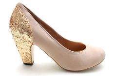 VALENTINA Mid Heel Glitter Party Shoes NUDE SUEDE