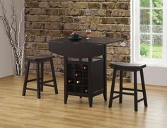 3 Piece Drop Leaf Bar Table and Stool Set