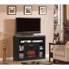 Adams 47.5 in. Media Mantel Electric Fireplace in Coffee Black