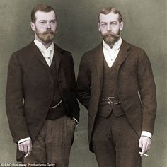 Firm friends: Tsar Nicholas II and King George V were cousins and close friends thanks to their mothers
