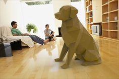 Printable Paper Model Of A Labrador Retriever Dog - Folding DIY Template