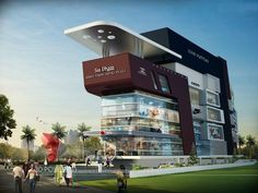 Pin by power on shopping mall rendering mall design, buil Plaza Design, Mall Design, House Design, 3d Architectural Visualization, Architecture Visualization, Architecture Design, Front Elevation Designs, Shopping Mall Interior, Bungalow Haus Design