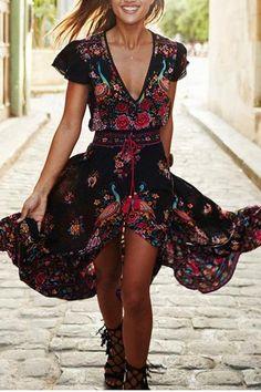 Black Floral Ruffle Irregular Drawstring High-Low Deep V-neck Casual Bohemian Streetwear Mexico Maxi Dress – Women's Fashion Moda Hippie, Vestidos Vintage, Vintage Dresses, Maxi Dress With Sleeves, Chiffon Dress, Dress With Shorts, Hippie Elegante, Boho Outfits, Fashion Outfits