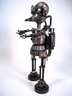 Recycled Metal Robot Sculpture by RecycledMetalArtwork on Etsy, $750.00