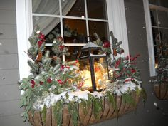 Astonishing Holiday Decorating Ideas For Window Boxes, Innovative Christmas yard decoration solutions are not just about being conventional but it's also about what is new. There are lots of easy decoratio. Christmas Window Boxes, Winter Window Boxes, Christmas Urns, Christmas Planters, Christmas Yard Decorations, Primitive Christmas, Rustic Christmas, Winter Christmas, Christmas Lights