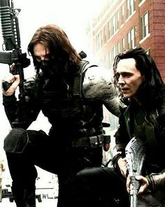 Day 21 - Who Do You Ship Bucky With And Why  Bucky & Loki or hey I'm even into Sebastian & Tom  #WinterFrost #Hiddlestan