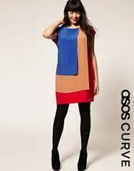 Asos curve dress in colourblock size 24