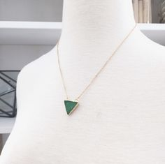 A personal favorite from my Etsy shop https://www.etsy.com/listing/238434603/chrysoprase-triangle-necklace