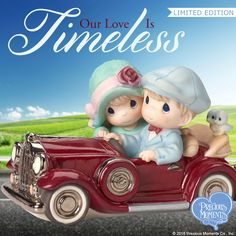 A romantic ride in a classic car is just the ticket for timeless love. Add in some darling hats, blue eyes and a touch of 'chrome,' and you have a ride straight into the heart of a love story. Precious Moments Quotes, Precious Moments Figurines, Clark Kids, Romantic Love Couple, Diy Crafts For Home Decor, Cute Love Gif, Romance, Cute Teddy Bears, Animal Coloring Pages