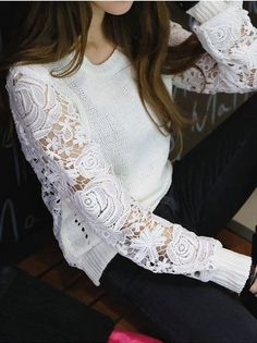 Sheer Lace Sleeve Sweater