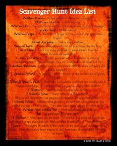 Halloween scavenger hunt list :)
