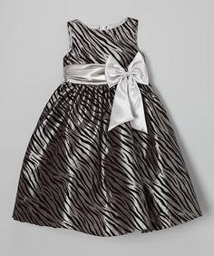 Look what I found on #zulily! Kid's Dream Silver Zebra Bow A-Line Dress - Toddler & Girls by Kid's Dream #zulilyfinds