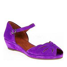 "Gentle Souls ""Lily Moon"" Sandals in Purple Suede."